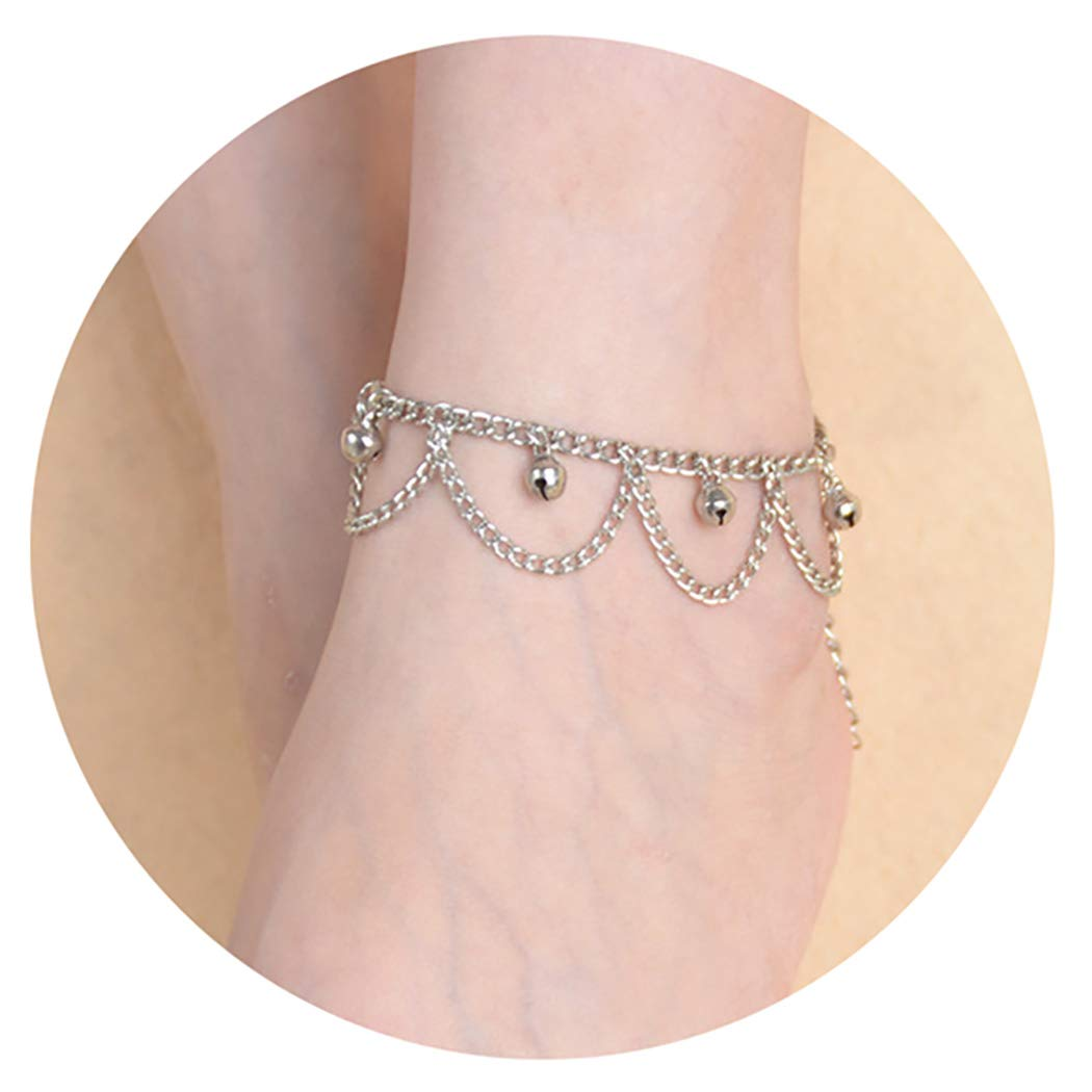 LZIYAN Sequined Tassel Bell Anklet Bracelet Beach Foot Chain Fashion Jewelry Accessories for Women,Silver