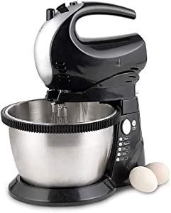 IhDFR Black Food Mixer –300W Electric Stand Mixer with 2.8 Litre Mixing Bowl & Splash Guard – Includes Beater, Dough Hook & Balloon Whisk for Cake, Batter, Bread, Desserts And More
