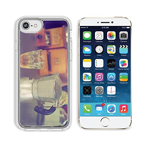 Luxlady Apple iPhone 6/6S Clear case Soft TPU Rubber Silicone Bumper Snap Cases iPhone6/6S IMAGE ID: 34010862 coffee maker espresso machine on the table wood vintage color
