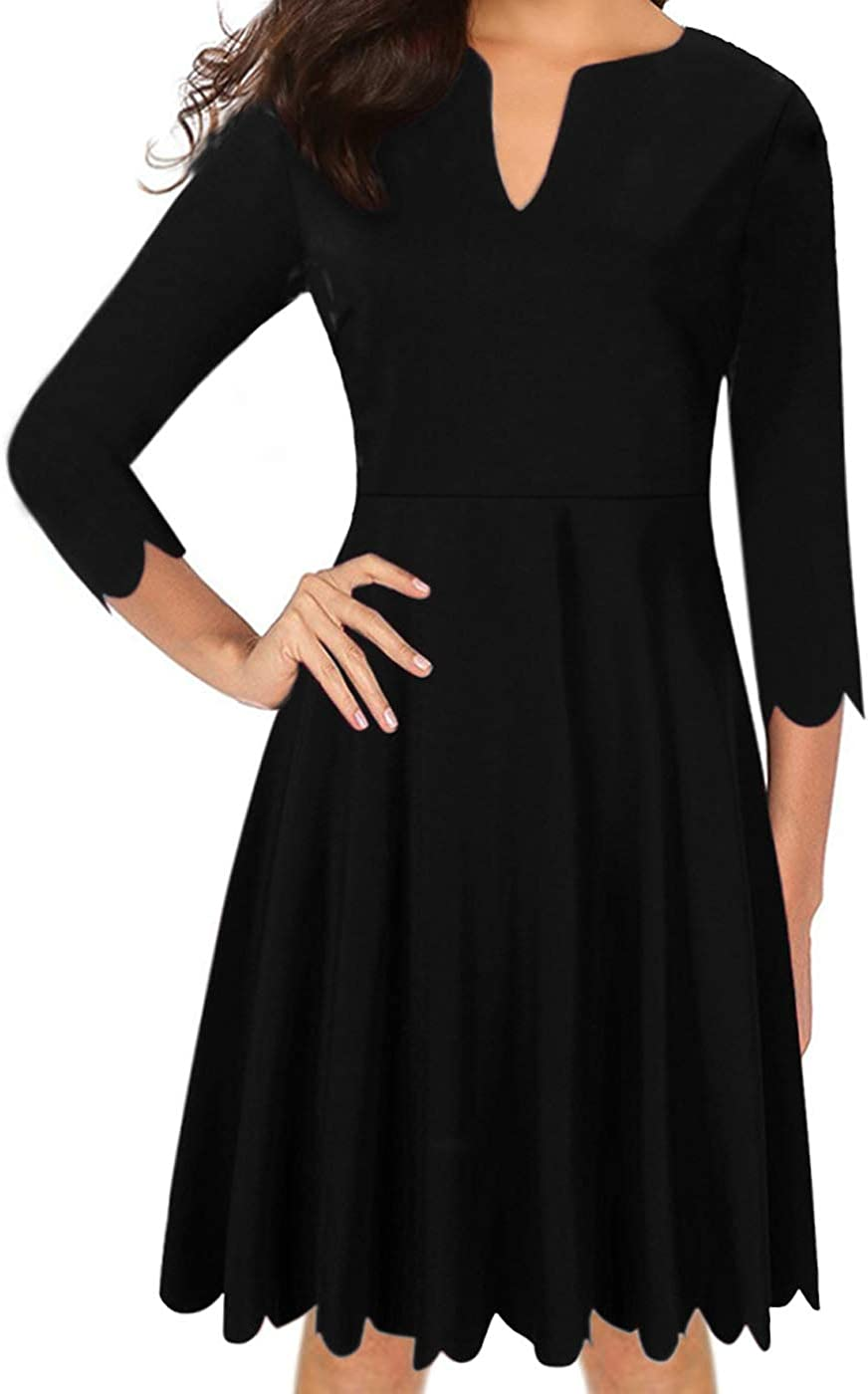 Clearlove Womens V-Neck A-Line Pleated Party Casual Dress