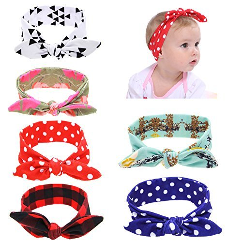 Globalsupplier Boutique Stretch Bows Ears Headband Set for Newborn Infant Baby Girl Kids Toddlers (6 PCS PACK -