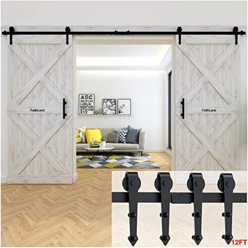 Faithland - Juego de herrajes para puerta de establo corredera de 3 metros con diseño moderno, para baño, dormitorio, balcón, madera o puerta de armario: Amazon.es: Bricolaje y herramientas