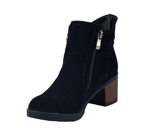 50bc47be4236c AgeeMi Shoes Mujeres Tacón Medio Cremallera Puntera Cerrada Caña Baja Botas   Amazon.es  Zapatos y complementos