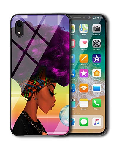 (KITATA iPhone XR Case for Girls [Slim Fit], African American Women Afro Purple and Black Art Print Design, Shockproof Impact Resistant Drop Protection Protective TPU Silicone)