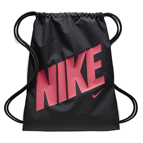Nike Young Athlete Drawstring Gymsack Backpack Sport Bookbag Black Pink Signature Logo, One Size