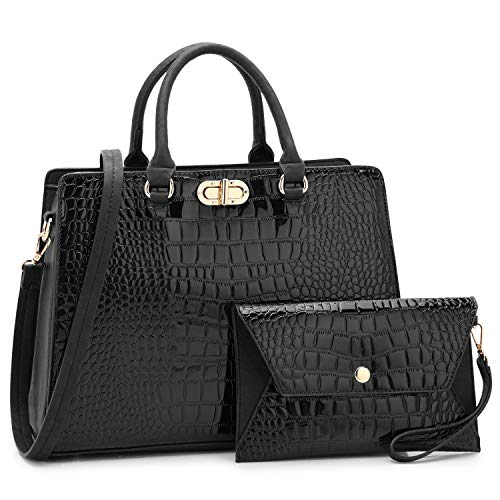 - Dasein Women Fashion Handbags Tote Purses Shoulder Bags Top Handle Satchel Purse Set 2pcs Croco Black