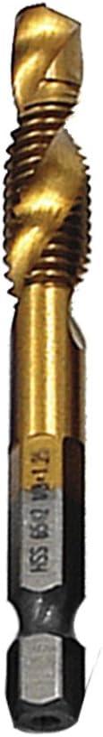 EBILUN Bohrhahn 1//4 Sechskantschaft Titanbeschichtetes M10-HSS-Gewinde Metrisches Kombinationsgewindebohrer