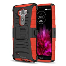 LG G Flex 2 Case, MoKo Shock Absorbing Hard Cover Ultra Protective Heavy Duty Case with Holster Belt Clip + Built-in Kickstand for LG G Flex 2 5.5 Inch (2015) - Red