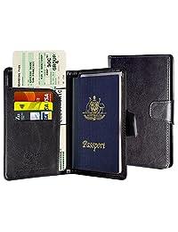 Passport Holder, Passport Cover Passport case Leather RFID Blocking Passport Wallet Cover Travel Case for Men Women with ID Window, Cash Pockets, Credit Card Slots - (Black)