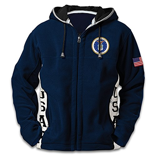 U.S. Air Force Hoodie: Men's Blue Hooded Fleece Jacket: Large by The Bradford Exchange by Bradford Exchange