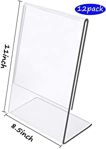 Slant Back Acrylic Sign Holder 8.5 x 11, Pack of 12, 8.5x11 Plexiglass Ad Frames,Table Sign Display Holder,Clear Easel Style Frame, Plastic Brochure Flyer Holder for Hotel,Office,Store,Restaraunt