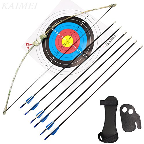 Cheap kaimei 37Inch Archery Bow and Arrow Set Recurve Bow camouflage Outdoor Sports Game Hunting Training Toy Gift Bow Kit Set with 6 Arrows 2 target paper to Kids Youth