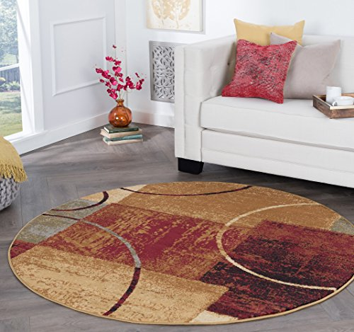 Tacoma Contemporary Abstract Multi-Color Round Area Rug, 5' Round
