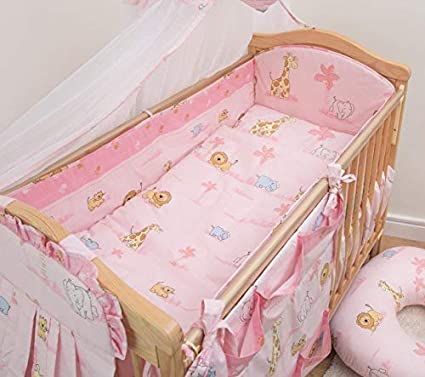 cot bed PINK STARS 3pc bedding set ALL ROUND BUMPER padded filled for cot
