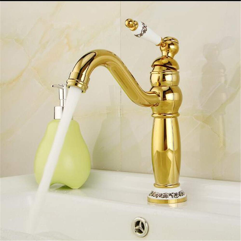 Decorry Modern Gold Faucet Rose Gold Bathroom Faucets Gold Finish Basin Faucets Luxury Bathroom Sink Faucet,A