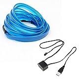 Baynne LED EL Light Neon Rope Car Party Dance Glowing Light Strip + 3V/12V USB Drive(Color:Blue)(Size:5M)