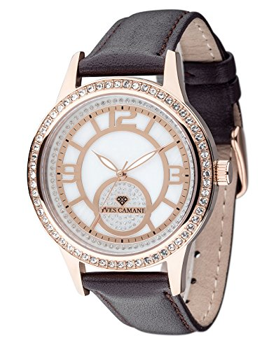 Yves Camani Rouen Women's Wrist Watch Quartz Analog Dial Mother Of Pearl Rosegold Stainless Steel Casing & Brown Leather Strap