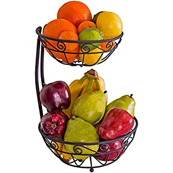 Zenware Steel Fruit Basket Stand Bowl Server U2013 2 Tier