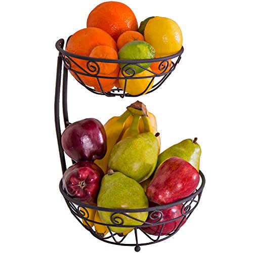 Zenware Steel Fruit Basket Stand Bowl Server – 2-Tier