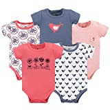 Yoga Sprout Unisex Baby Cotton Bodysuits, Bloom Short Sleeve 5 Pack, 0-3 Months (3M)