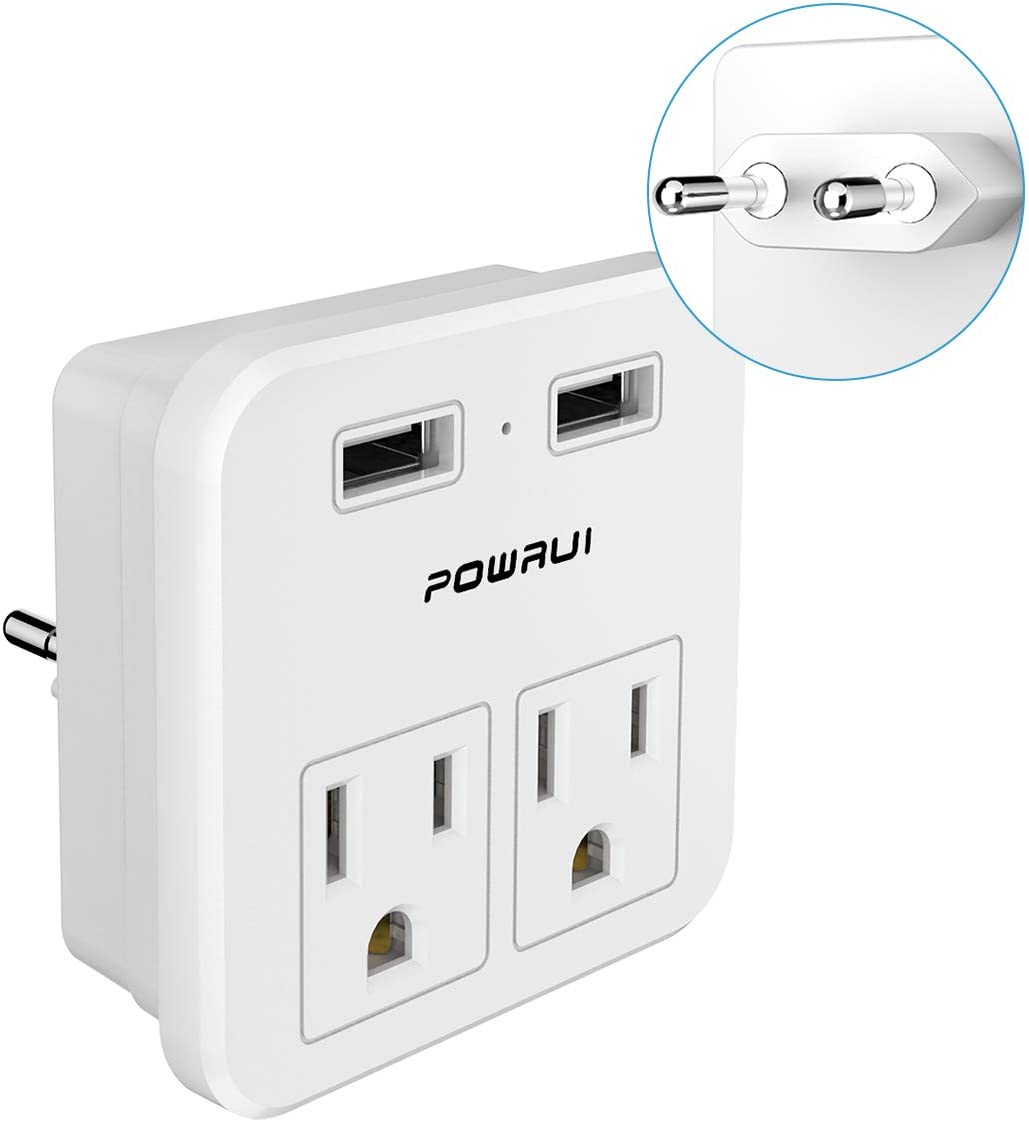 European Plug Adapter, travel adapter, POWRUI international power adapter with 2 AC Outlets and Dual USB ports for USA To Most of Europe EU Israel Brazil Italy(Type C - Most of Europe) - -