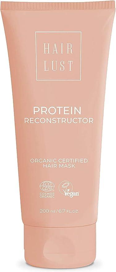 HairLust Protein Reconstructor Hair Mask 200 ml - Tratamiento para cabello muy dañado y debilitado - Certificado orgánico y vegano