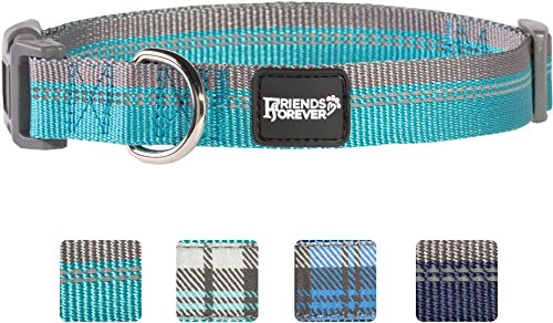 Friends Forever Plaid Dog Collar for Dogs, Fashion Reflective Pattern Cute Puppy Collar, 11-16
