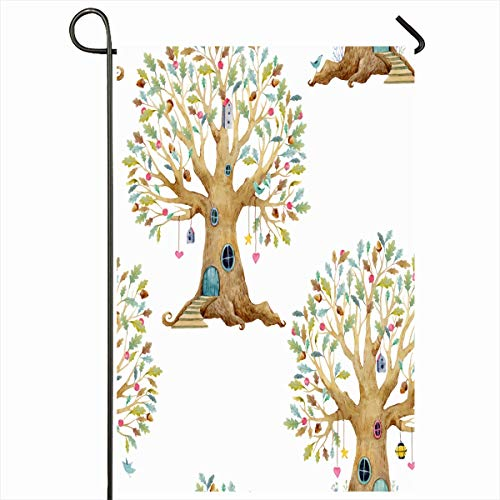 Ahawoso Garden Flag 12x18 Inches Family Botanical Watercolor Childrens Tree Pattern Grandfather Acorn Botany Branch Child Community Outdoor Decorative Seasonal Double Sided Home House Yard Sign ()