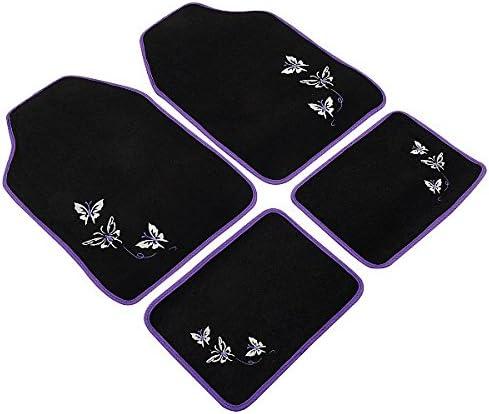 Colore: Nero//Viola in polietilene WOLTU Set Universale Completo Composto da coprisedili Auto e tappetini vano Piedi