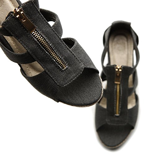 Sandal Black Front Strap Ollio Wedge Zipper Heel High Women's Shoe qwwv8nUSa