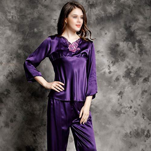03 Felicioo Servicio Pijamas Size Damas 100 De Encaje Larga color Para Xxl Hogar Manga Traje Seda r0xqrO4S