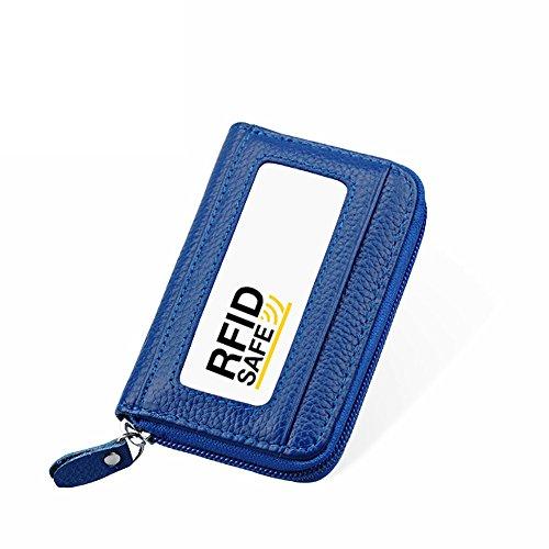 Hibate RFID Block Genuine Leather Credit Card Cases Holder Security Travel Wallets - Blue