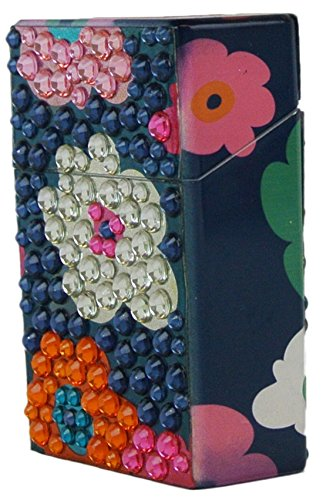 Bling Cigarette Case Flip Top Box Non Crush Fits Regulars Flower (Pattern Cigarette Case)