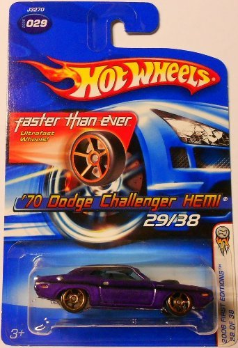 2006 First Editions -#29 1970 Dodge Challenger Hemi Purple FTE Wheels #2006-29 Collectible Collector Car Mattel Hot Wheels 1:64 Scale