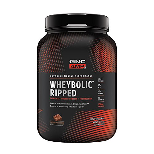 GNC AMP Wheybolic Ripped Whey Protein Powder, Chocolate Fudge, 22 Servings, Contains 40g Protein and 15g BCAA Per Serving ()