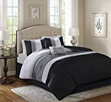 Comfort Spaces – Windsor Comforter Set- 5 Piece – Black, Grey, Light Grey – Pintuck Pattern – Full/Queen Size, Includes 1 Comforter, 2 Shams, 1 Decorative Pillow, 1 Bed Skirt