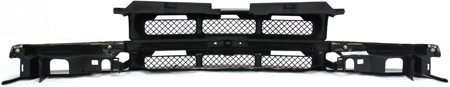 Grille Assembly Compatible with 1998-2004 Chevrolet S10 Mesh Insert Paintable Shell and Insert with Chrome Center Bar