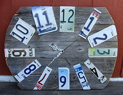 Rustic Wood Fence Panel License Plates Wall Clock