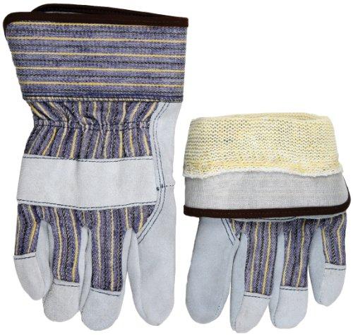 - MCR Safety 1400KM Premium Shoulder Leather Palm Men's Gloves with 10 Gauge Plated Kevlar Liner, Pearl/Blue, Medium, 1-Pair