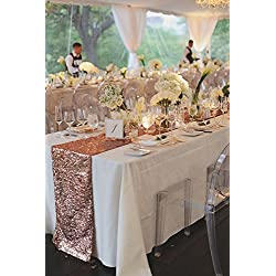 "QueenDream 14""x80""Rose gold Sequin Table runner For Wedding Party Christmas Home Table Decoration"