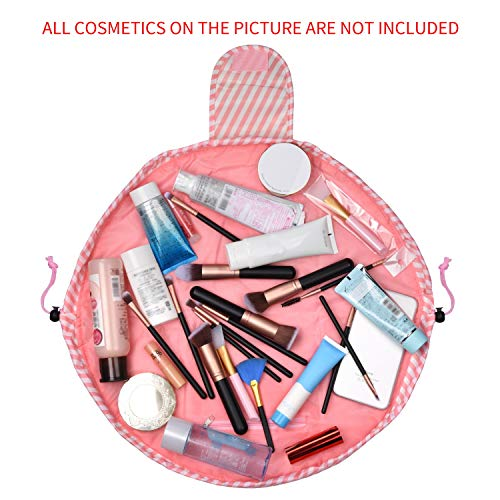 Travel Lazy Makeup Cosmetic Bag, Drawstring Makeup Bag,Quick Easy Pack Round Toiletry Organizer/Pouch/Case by SKYNEW,Pink Stripe -