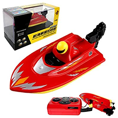 POCO DIVO Pool Motor Boat 2.4Ghz Mini RC Racer Bathtub Yacht Toy Ship - Red