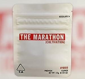 New 3.5g Marathon OG Empty Smell Proof Mylar Bag Food Storage (Marathon OG, 50)