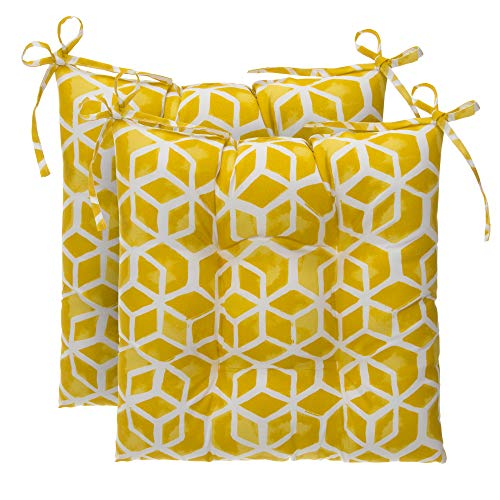 Glenna Jean Indoor/Outdoor Reversible Tufted Oversized Sq. Chair Cushion 2 Pack, Inbox - Yellow