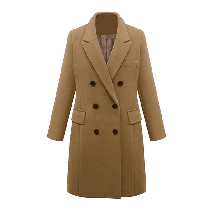 Luckycat Abrigo de Lana de Solapa de Invierno para Mujer Trench Jacket Abrigo Largo de Parka