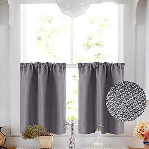 Vangao Grey Tier Curtains 24 inch Basket