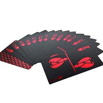 Leezo 55 Cartas de Juego Negras Doradas Delgadas ...