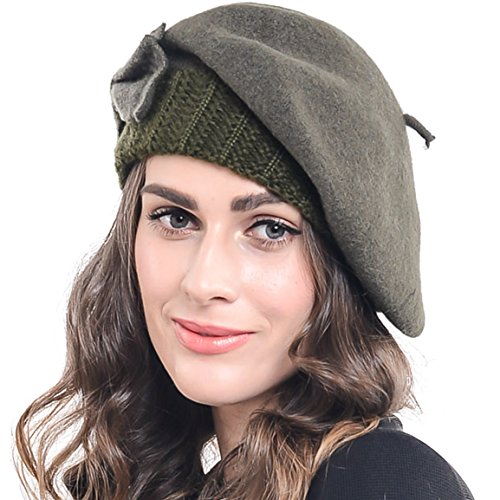 Trendy Womens 100% Wool Beret Knit Cap with Bow IN 10 COLORS (Green)