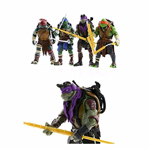 Anime Ninja Girl Costume (4PCS Lot TMNT Turtles Action Figures Anime Movie Xmas Gift Collectibles)