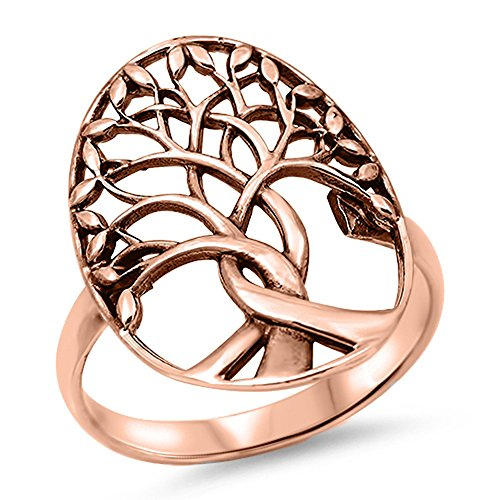 Oxidized Rose Gold-Tone Tree of Life Ring .925 Sterling Silver Band Size 8 ()
